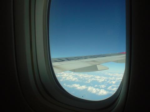 飛行機の窓から見る景色は格別です