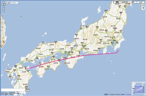 JAL324便の航跡