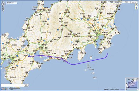JAL112便の航跡(GPS)