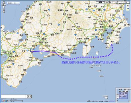 飛行機の航跡(一部推測)20120913ITM-HND