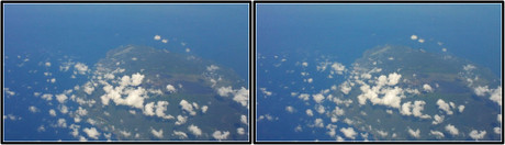 上空から見る大島と大島空港(3D版 クリックで拡大画像)