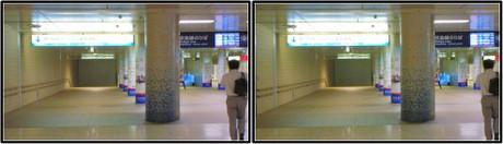 第2ターミナル側から地下連絡通路を進みます(3D クリックで拡大画像)