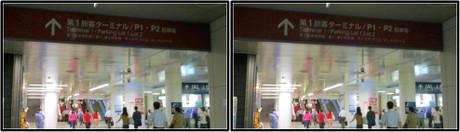第1ターミナルのJAL側の案内板は赤色(3D クリックで拡大画像)