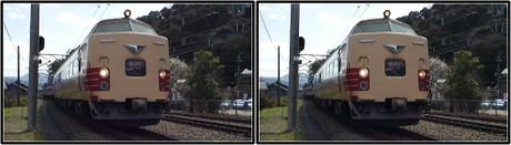 天橋立駅に到着する特急はしだて1号(立体写真)