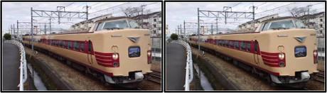 同じような国鉄色を身に纏った381系電車は健在です(立体写真)