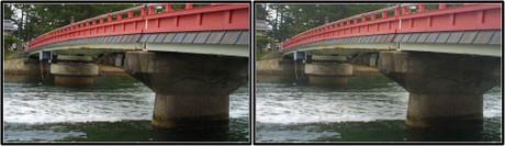 手前の橋台と奥の橋台の形が違います 3D画像(平行法)