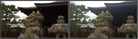 獅子(狛犬)の頭上に角が縦に2本 3D画像(平行法)