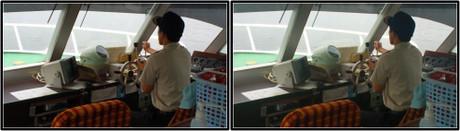 かもめ1号の操舵席 3D画像(平行法)
