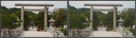 籠神社の石の鳥居 3D画像(平行法)