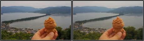 かさぼう人形焼は可愛くて美味しい 3D画像(平行法)
