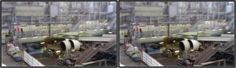 デッキ部から見える整備中の機体(平行法用立体画像)