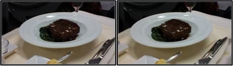 洋食(肉)のメイン(平行法用立体画像)