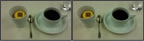 和食の後にはお茶を勧められましたが、コーヒーをお願いしました。(平行法用立体画像)