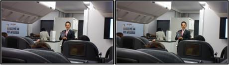 JALさんの閉会のあいさつとお土産の説明(平行法用立体画像)