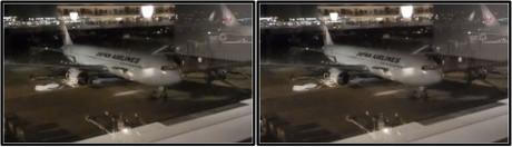 到着した折り返しJAL139便(平行法用立体画像)