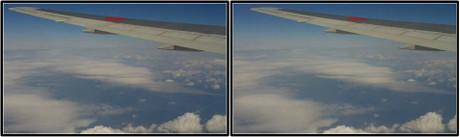窓の外には様々な表情の雲が浮かんでいます(平行法用立体画像)