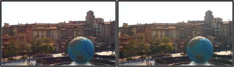 ディズニーシーの地球儀とミラコスタ(平行法用立体画像)