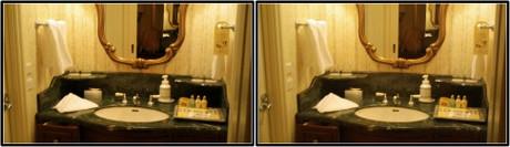 洗面台はワリと狭い印象です(平行法用立体画像)