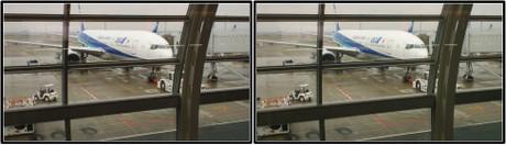 出発を待つANA33便 JA8198(平行法用立体画像)