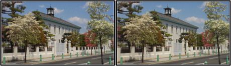 グンゼ記念館と周辺の街路(平行法用立体画像)