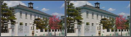 白亜の洋風建築のグンゼ記念館(平行法用立体画像)