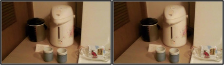 ポットのお湯で温かい緑茶をいただきました(平行法用立体画像)