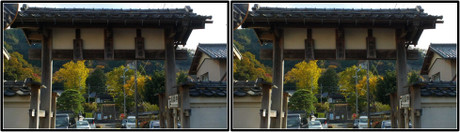 3つのお寺の名前が掲げてある門(平行法用立体画像)