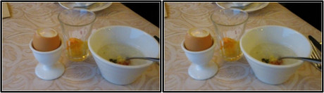 飲み干した食前ドリンクのグラスと半熟ゆで卵とお粥(平行法用立体画像)