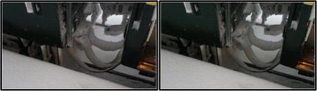 車両の連結部はカチンコチン(平行法用立体画像)