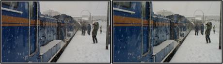 雪に耐える重連のDD51ディーゼル機関車(平行法用立体画像)